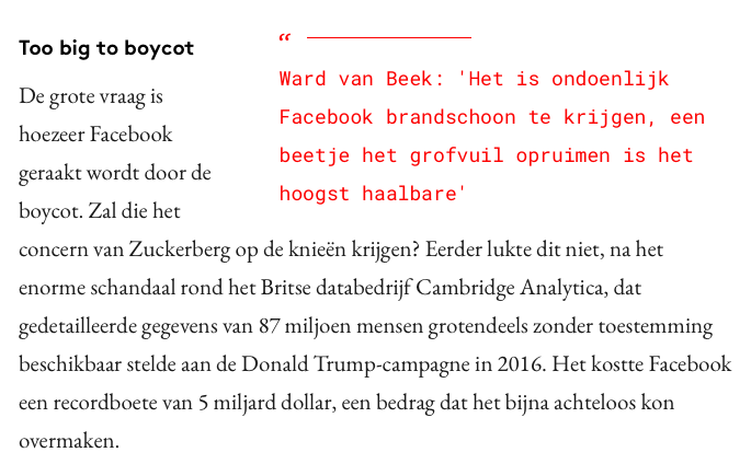 Collega Ward in Adformatie: 'Facebook is too big to boycott'